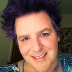 Autistic Mom Smiling with Funky Purple Hair